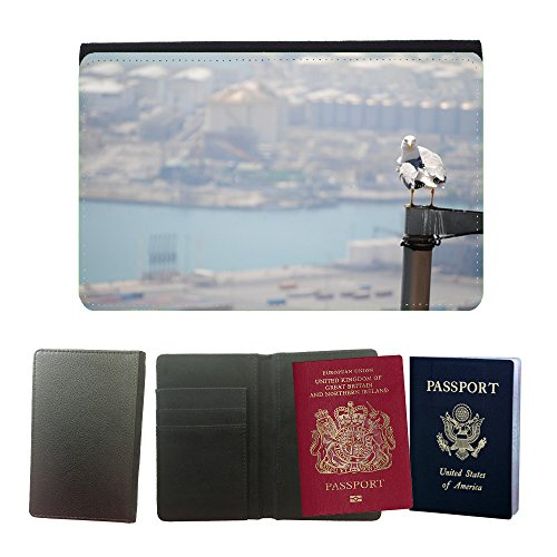Hello-Mobile Flip PU Leather Travel Passport Wallet Case with Flight Ticket Slots // M00138065 Bird Barcelona Port Seagull Barcelona // Universal passport leather cover