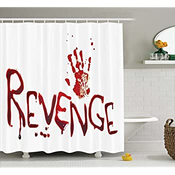 Ambesonne Bloody Shower Curtain Set By Handprint And Revenge With Splashed Blood Crime Help Me