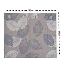 """Grey and White Leaf Curtains Valance - Anady 2 Panel Linen Cotton Small Short Curtains Tiers for Basement Grommet Top 30""""W x 24""""L(Customized Available)"""