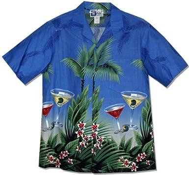 62ccaed22 Amazon.com: Floating Martini Men's Hawaiian Aloha Shirt in Royal ...