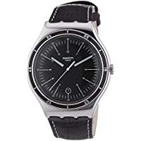 Swatch Irony Trueville Black Dial Leather Strap Men's Watch YWS400