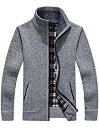 Men's Classic Soft Thick Knitted Cardigan Sweaters Long Sleeve Full Zip