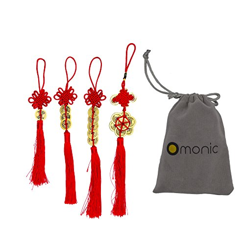 Omonic 4 Pcs Set Handmade Vintage Authentic Chinese Lucky Feng Shui Products FengShui Coins Hamsa Red String for Wealth Good Fortune and Success Home Decor