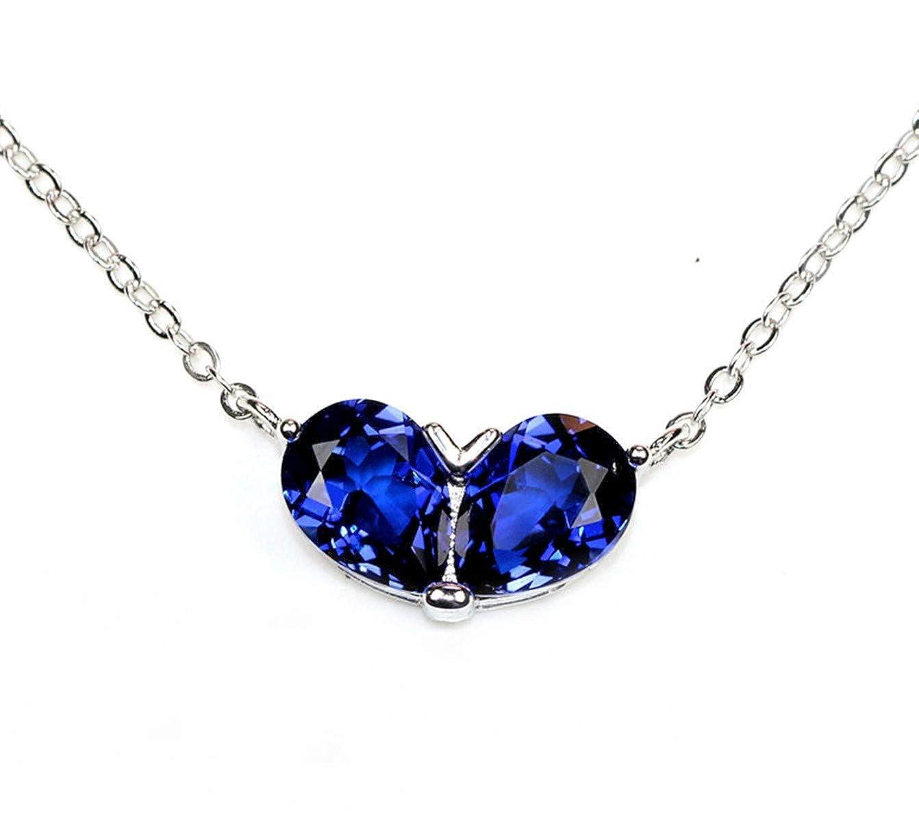 ZHUANBAI Water Drops Double Spell Heart Tanzanite Sapphire Necklace Set Chain Sterling Silver Simple Collarbone Chain Sapphire Blue Color Treasure Gift Girlfriend