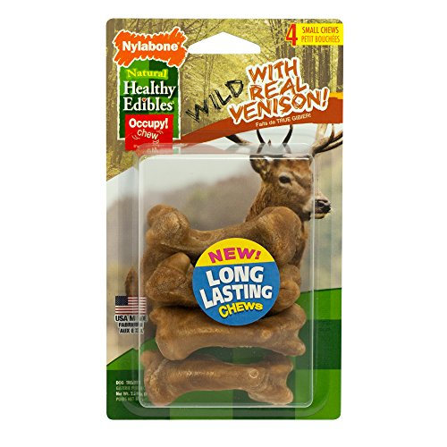Nylabone Healthy Edibles Natural Venison Dog Treats, Medium, 4 Count