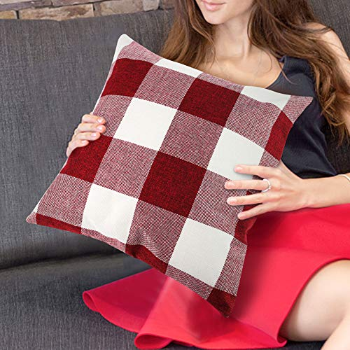 JOHOUSE 4PCS Classic Retro Checkers Plaid Throw Pillow Covers, 18x18inches Red Gingham Check Pillow Covers Farmhouse Pillow Cases for Christmas Sofa