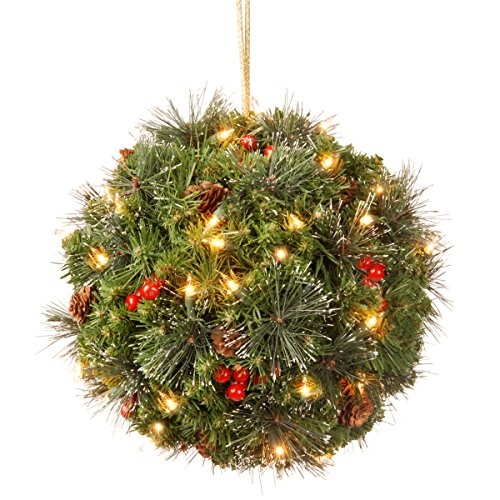 National Tree 12 Inch Crestwood Spruce Kissing Ball with Silver Bristle, Cones, Red Berries and 35 Battery Operated Warm White LED Lights (CW7-318-12B-1) -