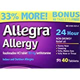 Allegra Allergy 40 Tablets (Bonus Pack - 33% More) 24 Hour Protection - Non Drowsy