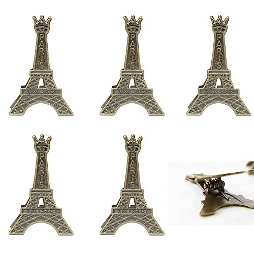 ICYANG 10pcs Small Creative Vintage Metal Eiffel Tower Place Card Holder Clips Paris Style Wedding Decoration Memo Stand Card Paper Note Message Photo Holders Display