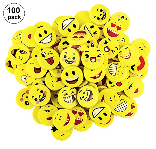 Crazy Face Emoji Fun Erasers 100 Pack, OOTSR Assorted Emoticons Pencil Erasers for Kids, Great Party Favors, Bag Stuffers, Christmas Gift, Prize, School Supplies