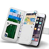iPhone 6 Plus Wallet Case, Roybens Leather Folio Wallet Sleeve Purse Card Organizers Phone Case Pouch Magnetic Detachable Back Cover Flip Case with Wrist Strap For Apple iPhone 6 6s Plus, White
