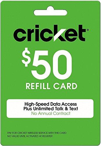 Cricket Refill Card $50 Cricket Wireless Refill Card $50 by Cricket Wireless