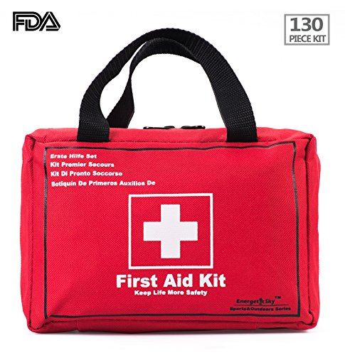 First Aid Kit Survival Kit 130 Pcs,Complete & Compact Medical Emergency Kit Lightweight for Home,Outdoors,Car,Camping,Workplace,Hiking & Survival.