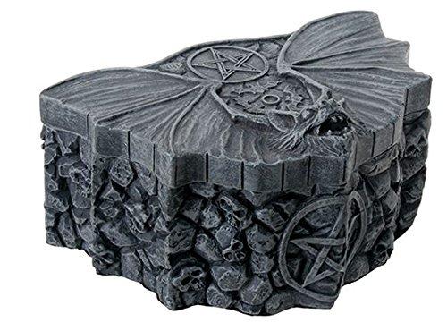 - SUMMIT BY WHITE MOUNTAIN Matte Silver Tone Metal Pentagram Bat Box with Skull Stone Designs
