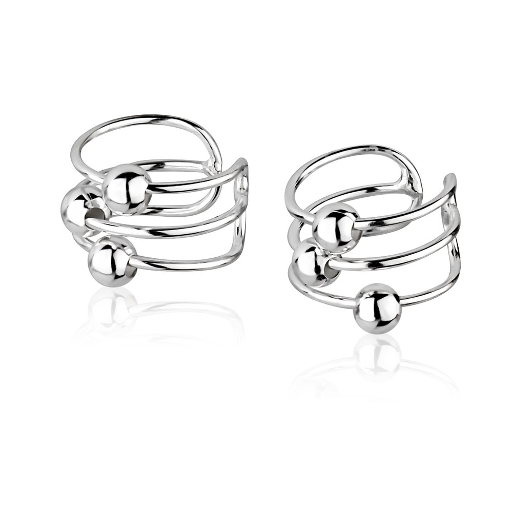 925 Sterling Silver Bar Bands w/Ball Beads No Pierce Ear Cuff Wrap Earrings, Set of Two (2) 6x10mm by Chuvora