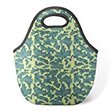 Good4Life - Neoprene Lunch Tote Insulated Reusable Picnic Lunch Bag [ Yellow Teal Camouflage Pattern ]