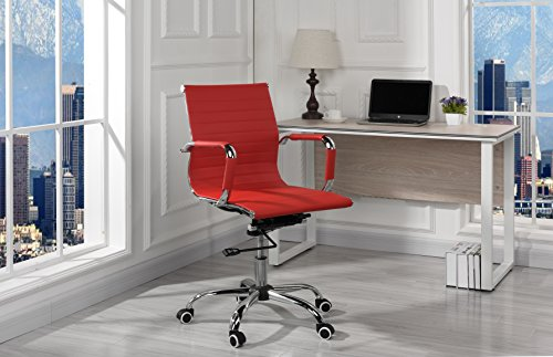 Sofamania Modern Ribbed Faux Leather Office Chair, Mid Back Ergonomic Chair Swivel Conference Room Chair (Red)