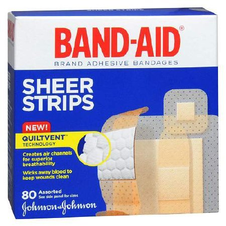 BAND-AID Sheer Strips Assorted 80 Each (Pack of 3)