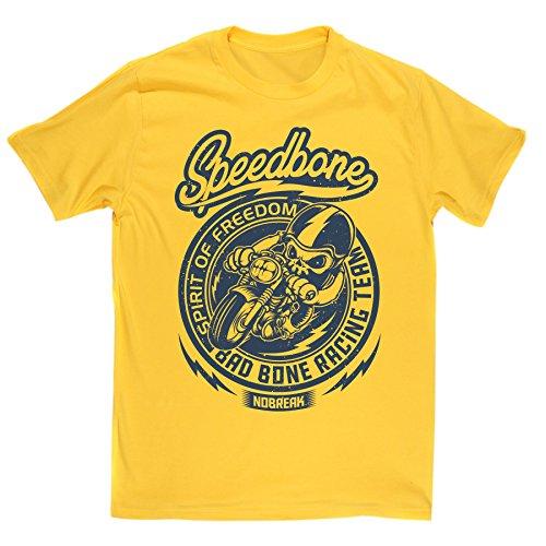 Mens Speedbone Bad Bone Racing Club Biker Motorcycle T-Shirt (Daisy/Print XXLarge)