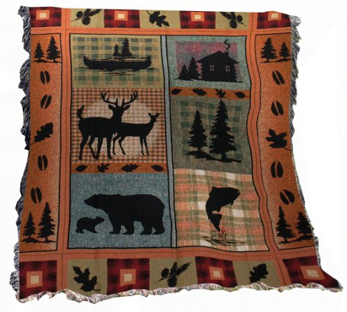 Manual The Lodge Collection 50 x 60-Inch Tapestry Throw with Fringe, Bear Lodge (60x50 Collection Blanket)