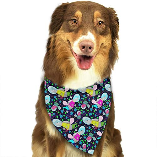 ANYWN Pet Dog Bandanas Triangle Bibs Scarfs Child Hippo Rabbit Pattern Accessories for Puppies Cats Pets Animals Large Size -