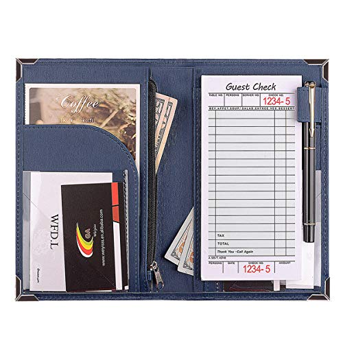 WFD.L Waitress Book for Restaurant Server Waitstaff | 10-Pocket Server Wallet with Zipper Pocket for Money Faux Leather Waiter Book Fits in Srever Apron + Bonus One Guest Order Note Pad (Blue)
