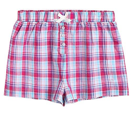Latuza Women's Sleepwear Cotton Plaid Pajama Boxer Shorts S (Flannel Boxer Short Pajamas)