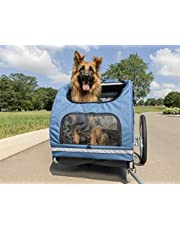 PetSafe Happy Ride Aluminum Dog Bike Trailer - Durable Frame - Easy to Connect and Disconnect to Bicycles - Includes Three Storage Pouches and Tether - Collapsible to Store - Medium and Large Sizes