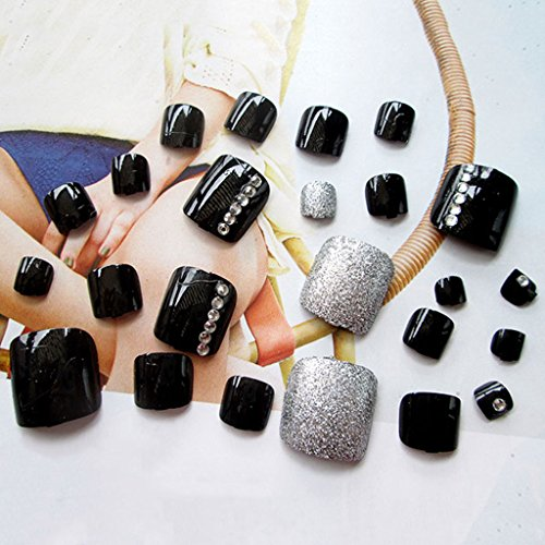 24pcs Acrylic False Toenails Toes Tips Rhinestone Art for Summer Holiday J28