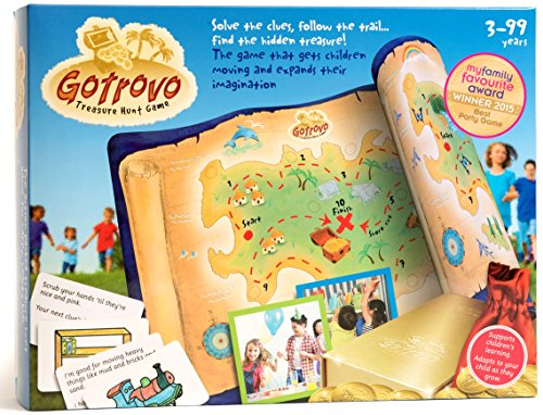 Gotrovo Treasure Hunt Game Indoor Outdoor DIY Educational Activity for Kids Learn through Fun – 100 Clue Cards, Treasure Map, Treasure Bar, Gold Coins and Loot Bag