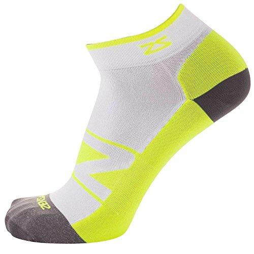Zensah Peek Running Sock, White/Neon Yellow, Small