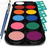 Face and Body Paint Kit, 12 Classic Colors with Bonus Flat and Detail Paint Brushes, Comes with 30 Design Stencils, Non Toxic, Water Based and Easy On, Easy Off, FDA Compliant