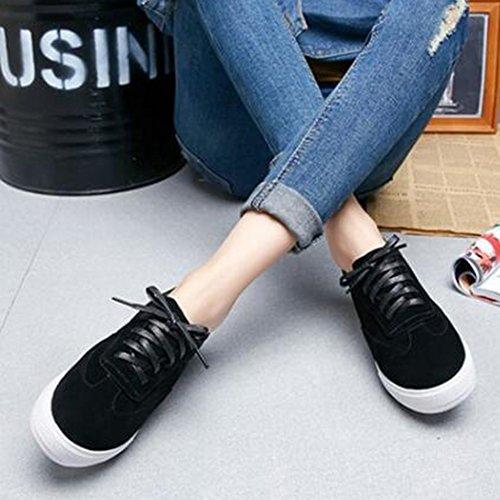 Easemax Mode Féminine Faux Suede Bout Rond Lace Up Baskets Basses Plate-forme Noir
