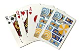 Los Angeles, California - Aerial beach Scene - Loungers and Umbrellas (Playing Card Deck - 52 Card Poker Size with Jokers)