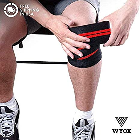 8eebe072e8 Wyox Sports Knee Wraps (Pair) for Cross Training WODs, Gym Workout,  Weightlifting