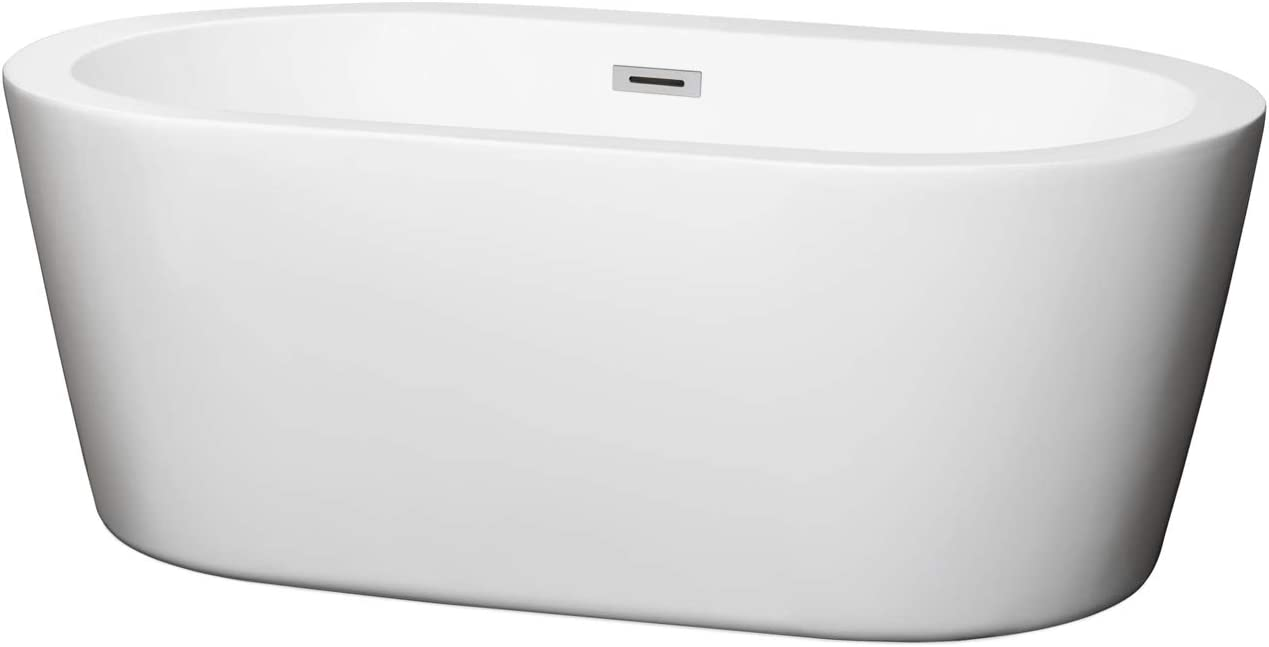 Wyndham Collection Mermaid 60 inch Freestanding Bathtub in White with Polished Chrome Drain and Overflow Trim