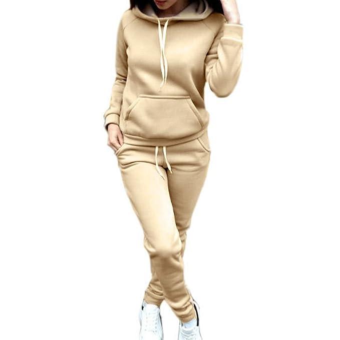 Chandal Conjunto para Mujer Moda Otoño Invierno Casual Conjuntos Deportivos  Manga Larga Sweatshirt Sudadera con Capucha + Pantalones 2pcs  Amazon.es   Ropa y ... 1762a5784cea9