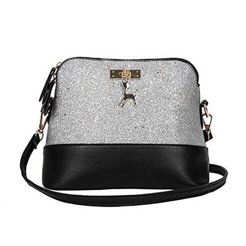 Women Cross Body Bags,Halijack Lady Girl Fashion Sequins Soft Leather Shoulder Bag Casual Multi Pocket Phone Bag Single Tote Handbag Small Messenger Bag Gray