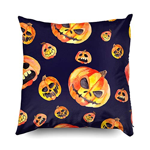 (Shorping Zippered Pillow Covers Pillowcases 16X16 Inch Halloween Scary Pumpkins on a Dark Background for Halloween Decorative Throw Pillow Cover,Pillow Cases Cushion Cover for Home Sofa)