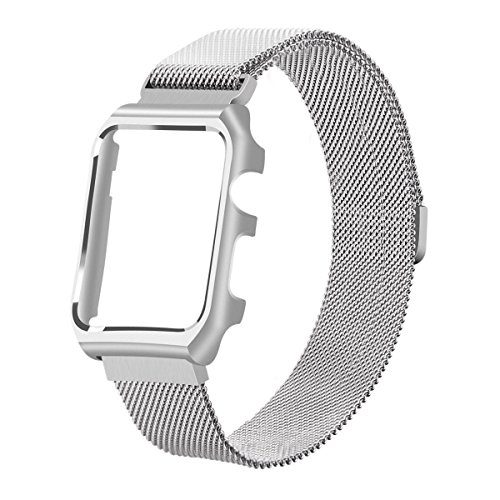 for Apple Watch Band Milanese Loop,LikeItY Stainless Steel Magnetic Band with Metal Case for Apple Watch Series 1/2/3 - Shockproof Protective Bumper Replacement Strap(38mm Siliver)