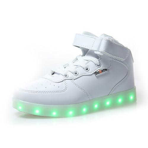 DoGeek Zapatos Led Niños Niñas 7 Color USB Carga Deportivas De Luces Zapatillas(Mejor Pedir