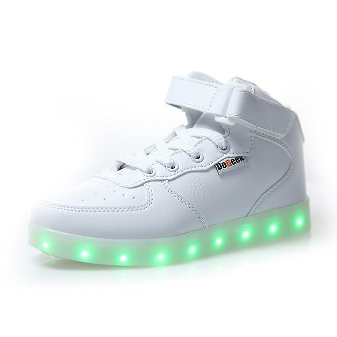 DoGeek LED Schuhe Weiß Schwarz 7 Farbe Schuhe leuchtender Damen Herren leucht Sneaker für Mädchen Jungen (Bitte bestellen Sie