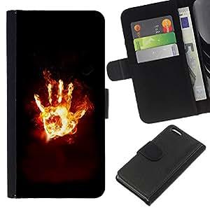 KLONGSHOP // Tirón de la caja Cartera de cuero con ranuras para tarjetas - Flaming Mano Desde el infierno - Apple Iphone 5C //