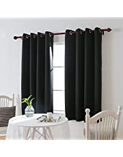 Deconovo Room Darkening Thermal Insulated Grommet Black Blackout Curtains for Living Room Curtain 2 Panels