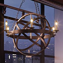 "Luxury Vintage Chandelier, Medium Size: 32""H x 26""W, with Transitional Style Elements, Sphere Design, Brass Accented Elegant Estate Bronze Finish and Exposed Bulbs, UQL2300 by Urban Ambiance"