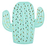 Cocktail Napkins - 50-Pack Luncheon Napkins, Disposable Paper Napkins Birthday, Fiesta Party Supplies, 3-Ply, Cactus Die-Cut Shaped Design with Gold Foil, Folded 6.5 x 6.6 Inches