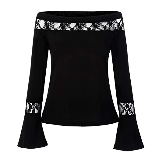 3417b69afbb78d ZTTONE Fashion Women Flare Sleeve Off Shoulder Cold Shoulder Lace T-Shirt  Tops Blouse at Amazon Women s Clothing store