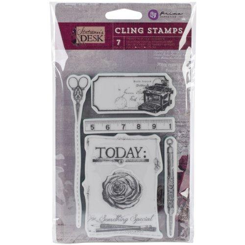 Prima Marketing Stationer's Desk Cling Stamps, 4 by 6-Inch, (Prima Marketing Stationers Desk)