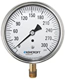 Ashcroft Duralife Type 1009AW Stainless Steel Case Pressure Gauge with Bronze System, Stainless Steel Bourdon Tube and Bronze Socket, Glycerin Liquid Filled, 3-1/2'' Dial Size, 1/4'' NPT Lower Connection, 0-300psi Range