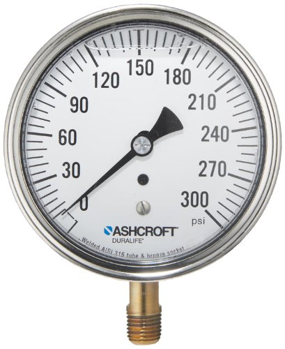 Ashcroft Duralife Type 1009AW Stainless Steel Case Pressure Gauge with Bronze System, Stainless Steel Bourdon Tube and Bronze Socket, Glycerin Liquid Filled, 3-1/2